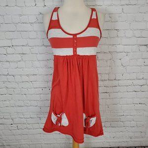 SUPERDRY Vintage Thrift Red Gray Striped Dress S